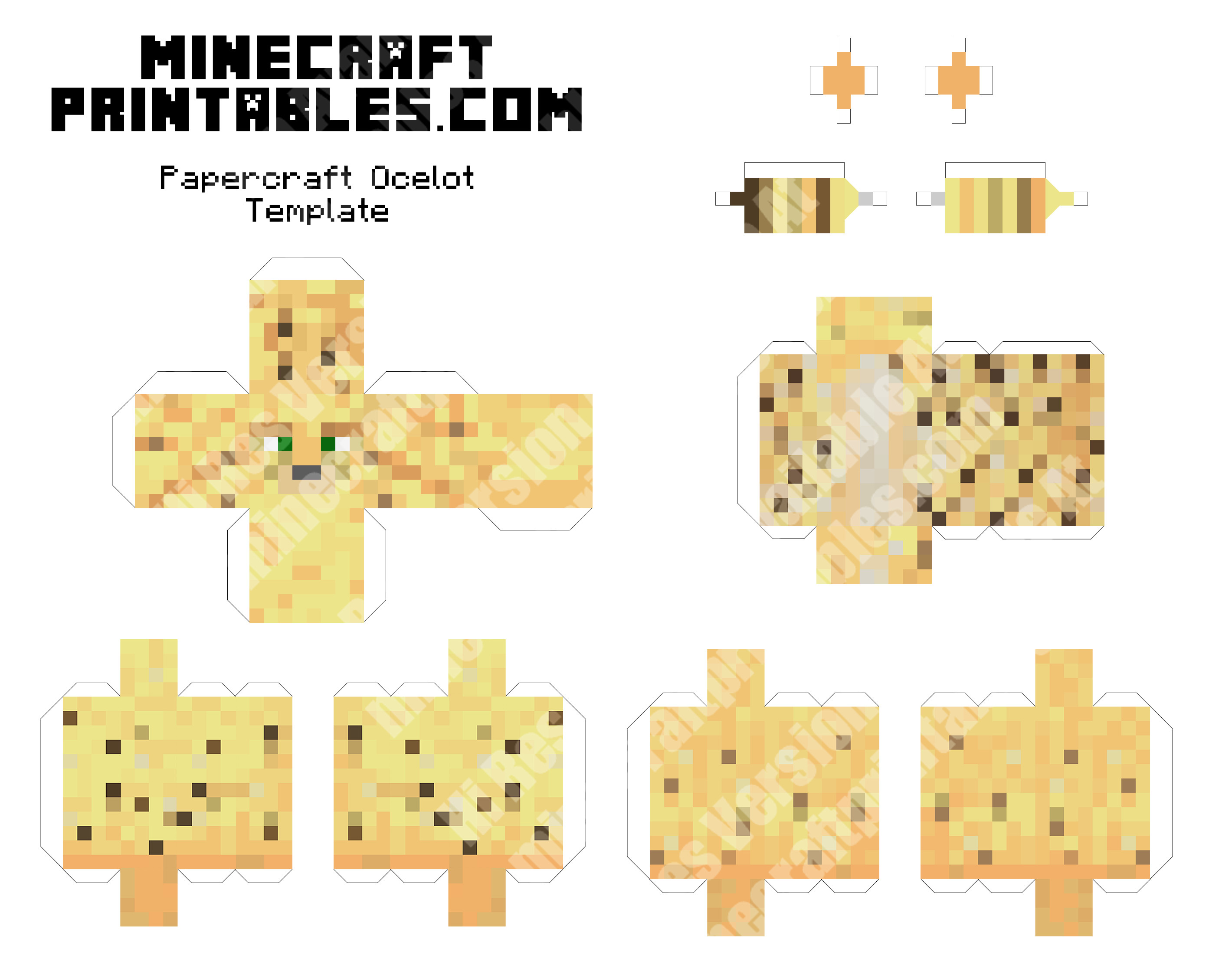 This is a graphic of Sassy Minecraft Papercraft Printable