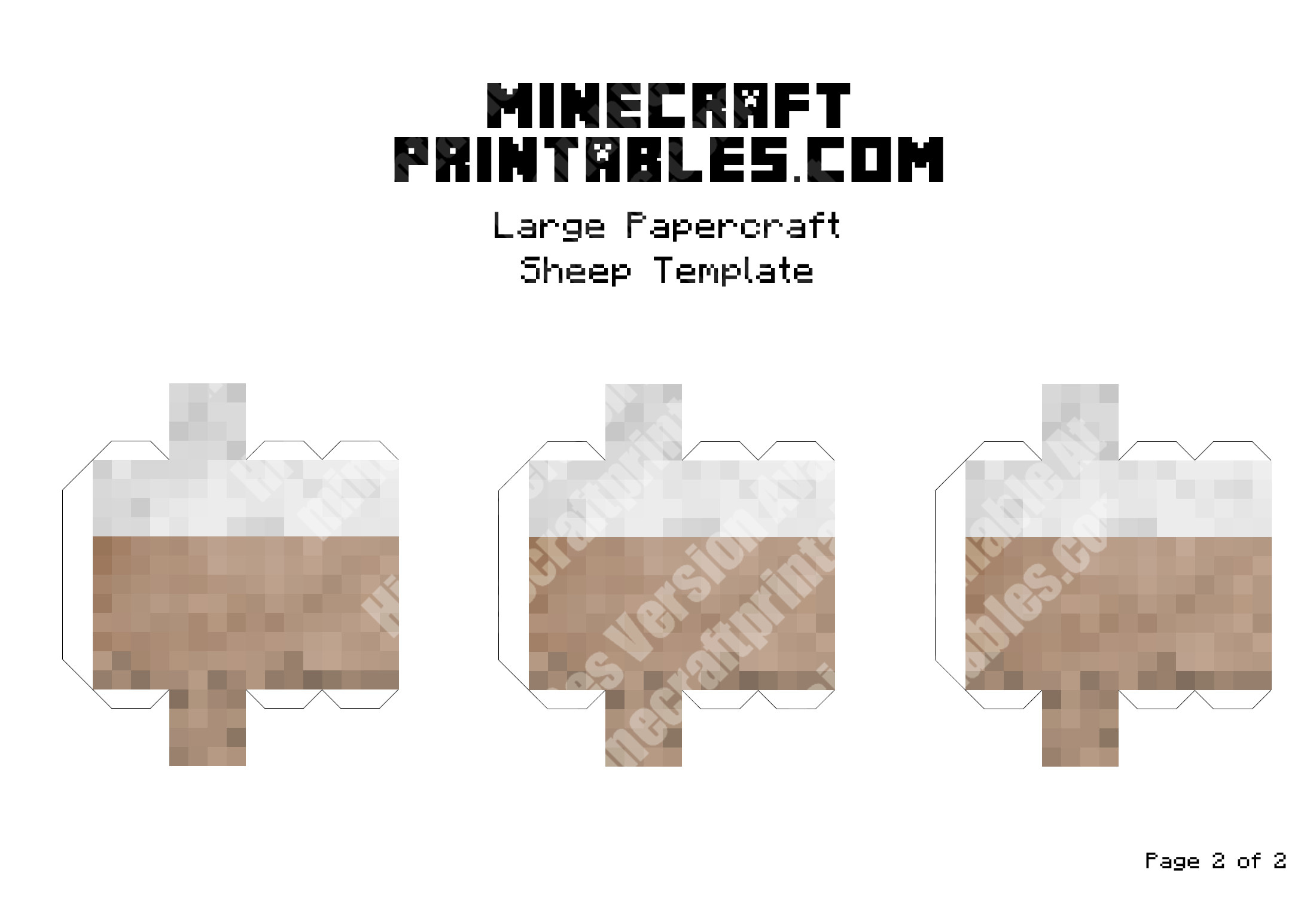 Sheep Printable Minecraft Sheep Papercraft Template