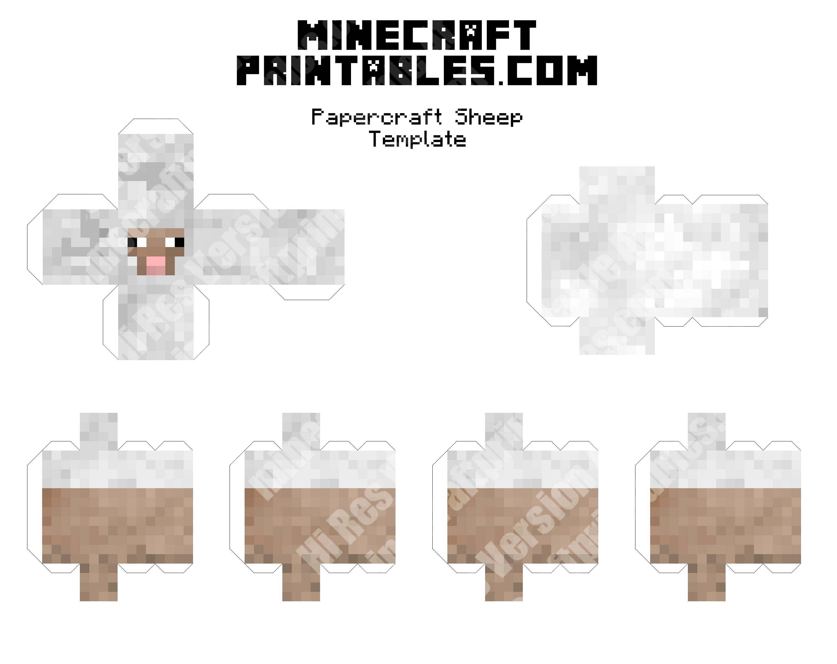 Minecraft Sheep Coloring Pages Small Size Printable Minecraft