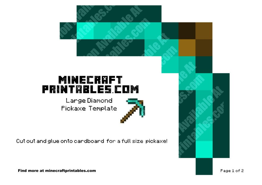 how to draw a minecraft diamond pickaxe