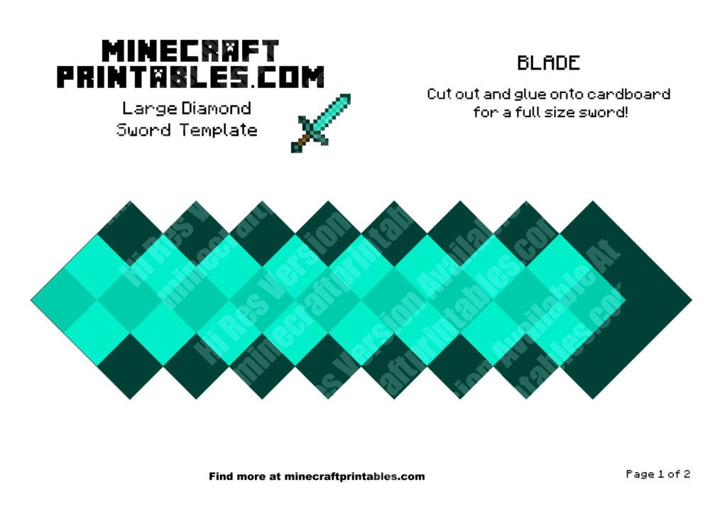 Diamond Sword - Printable Minecraft Diamond Sword ...