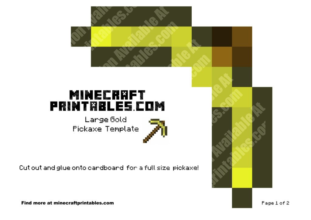 minecraft-printable-papercraft-gold-pickaxe_large_1