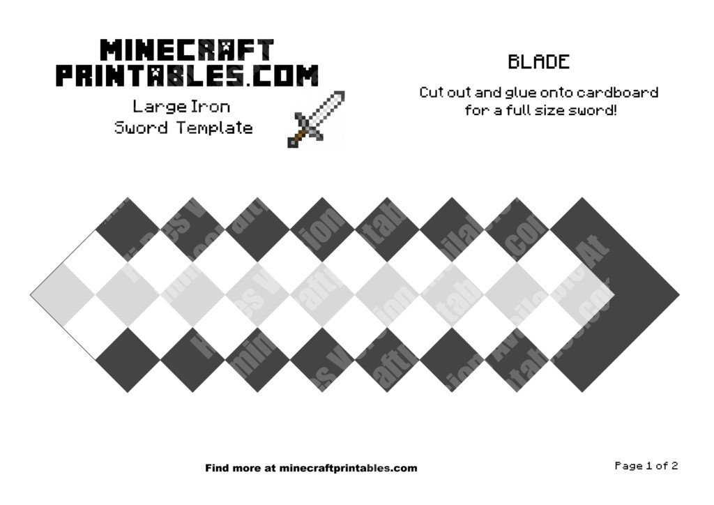 Iron sword printable minecraft iron sword 3d template for Minecraft cut out templates