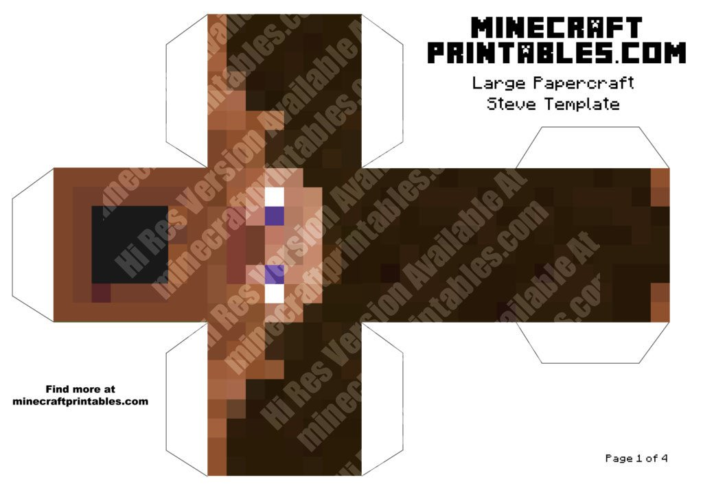 Clean image pertaining to minecraft steve printable