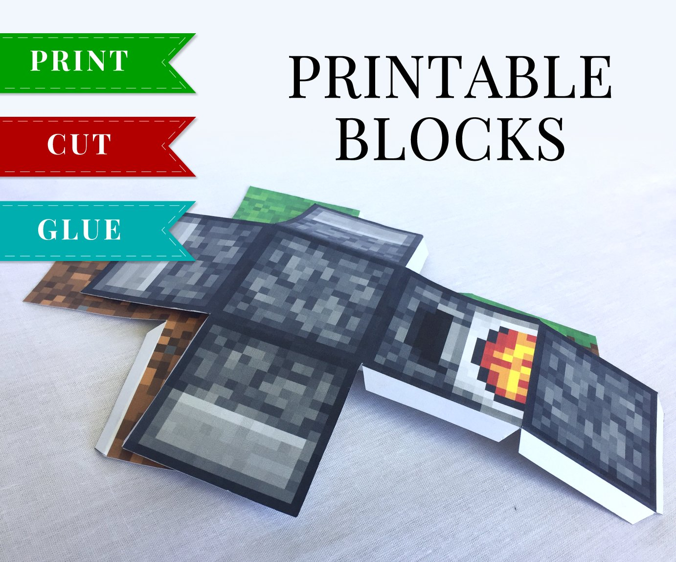 It is a picture of Exceptional Minecraft Printable Blocks