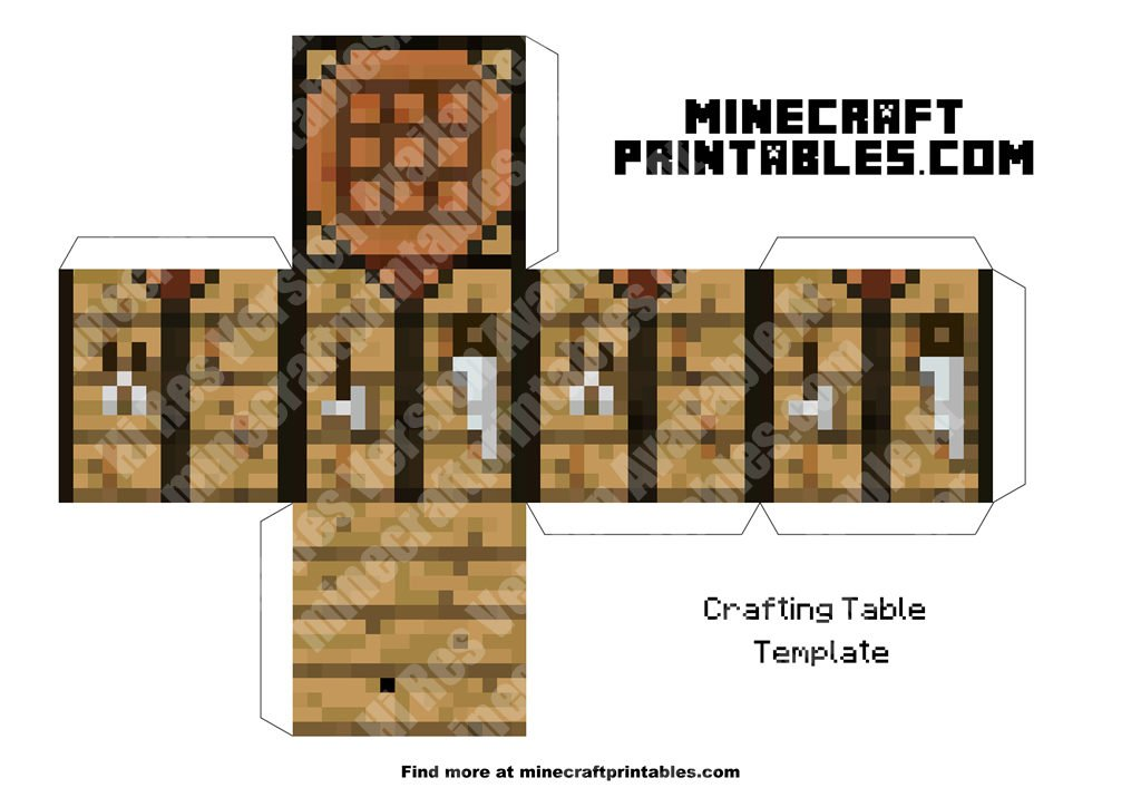 Crafting table minecraft crafting table printable papercraft template - Crafting table on minecraft ...