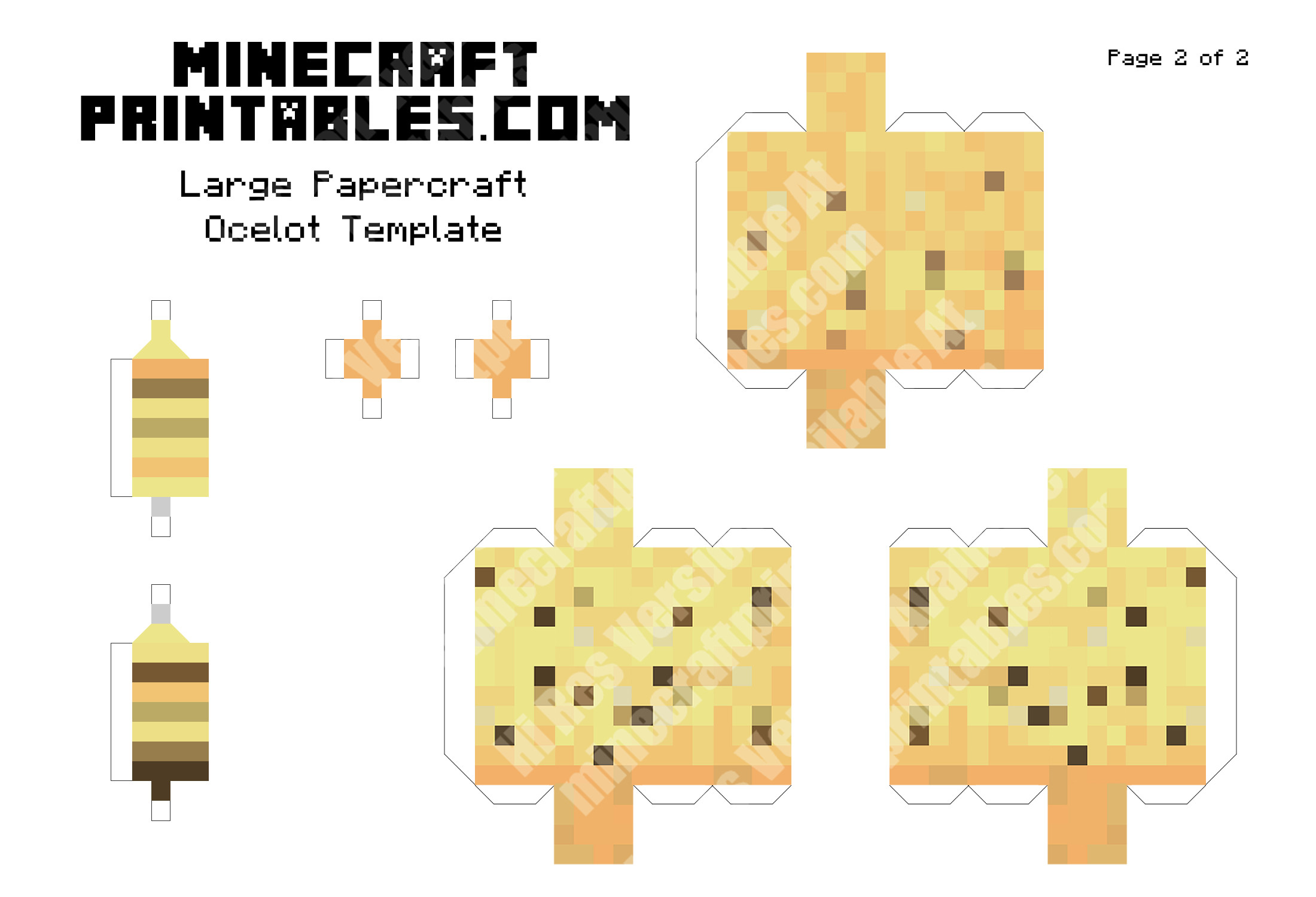 3D Printable Minecraft Ocelot Template