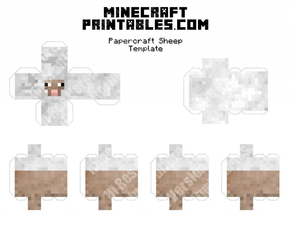 Minecraft Sheep - 3D Printable Minecraft Sheep Papercraft Template