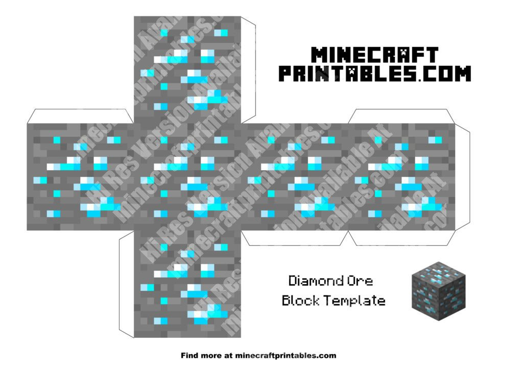 Diamond ore printable minecraft diamond ore papercraft for Minecraft cut out templates