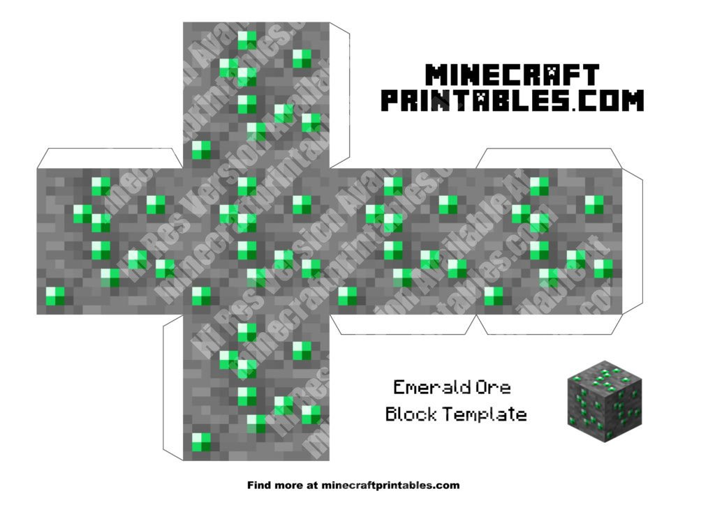photograph regarding Minecraft Printable Blocks named Printable Minecraft Emerald Ore Template