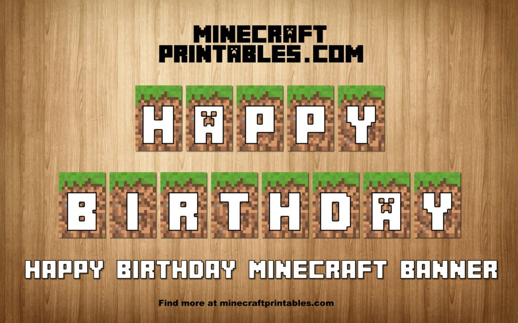 photo about Free Printable Minecraft Letters called Birthday Banner - Printable Minecraft Pleased Birthday Banner