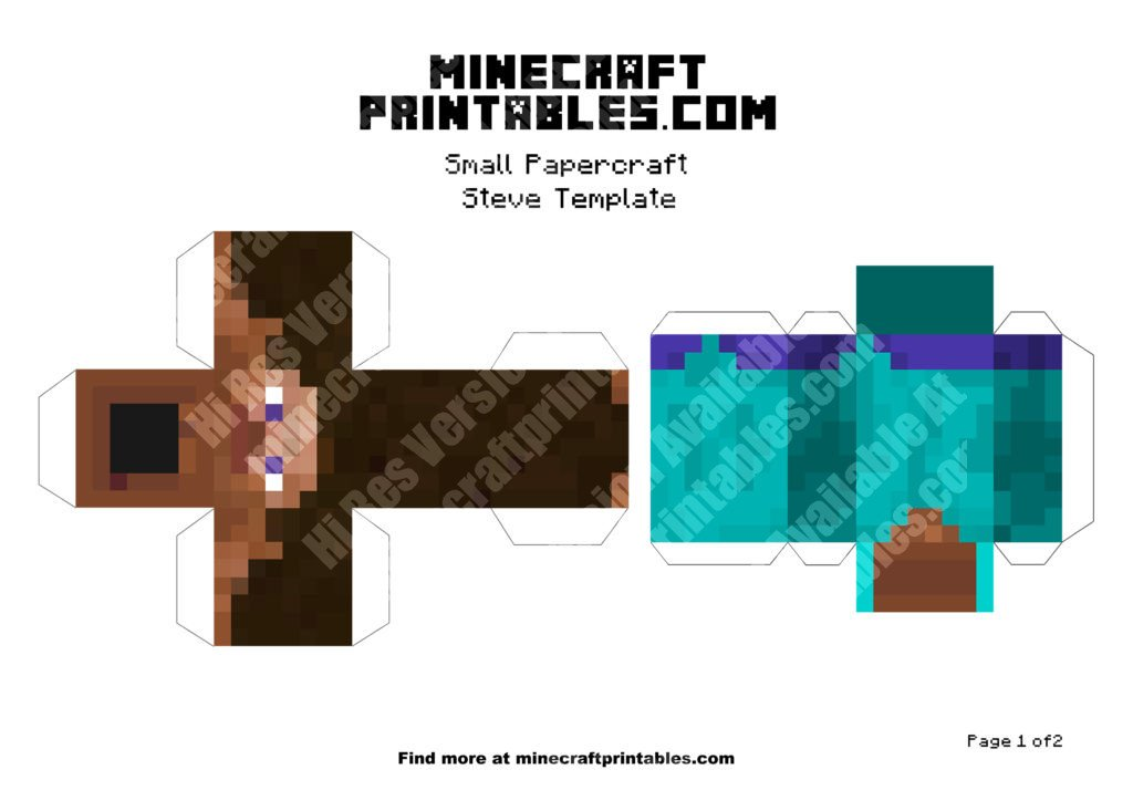 Steve Printable Minecraft Steve Papercraft Template