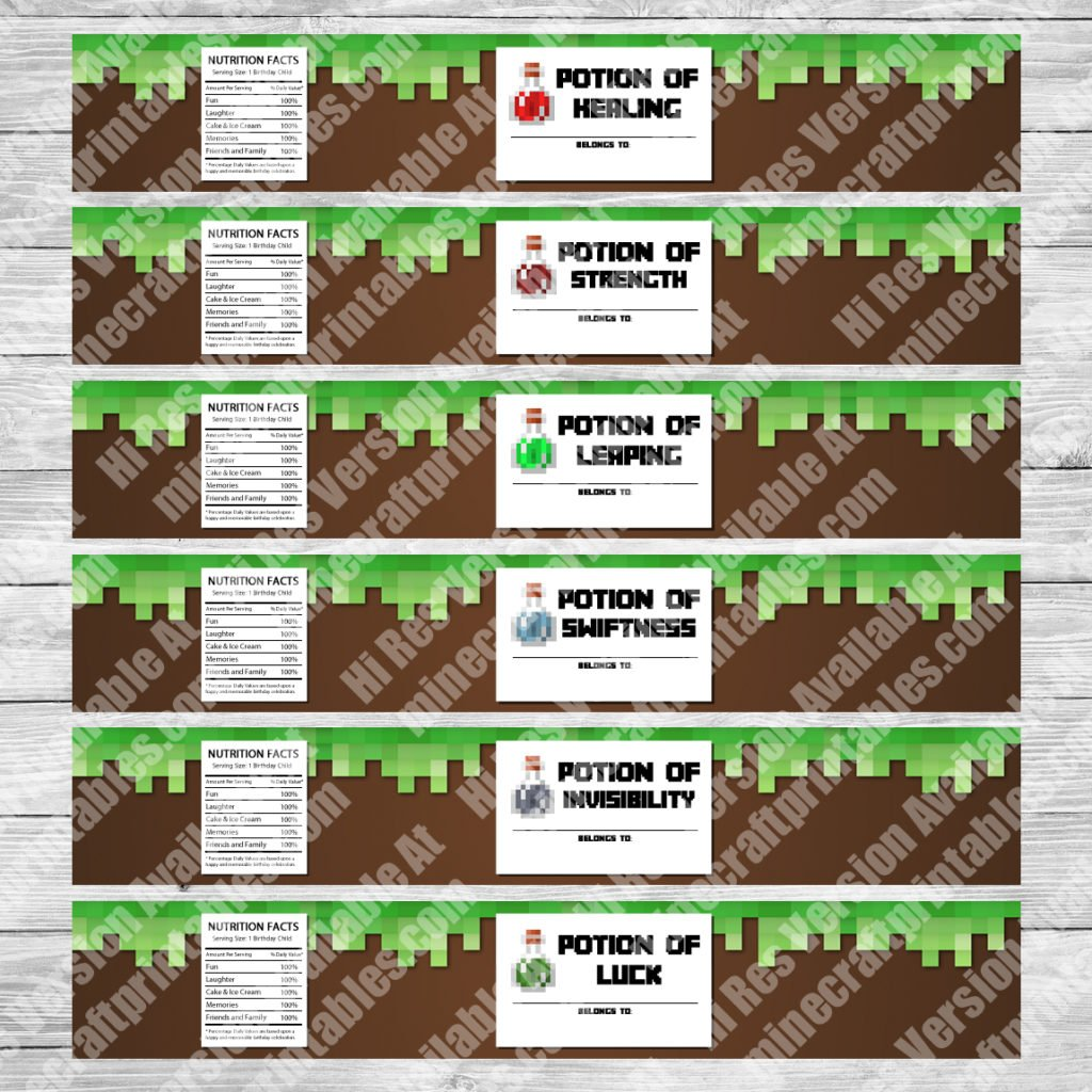 image regarding Minecraft Labels Printable known as Bottle Labels - Printable Minecraft Birthday Occasion Bottle Labels