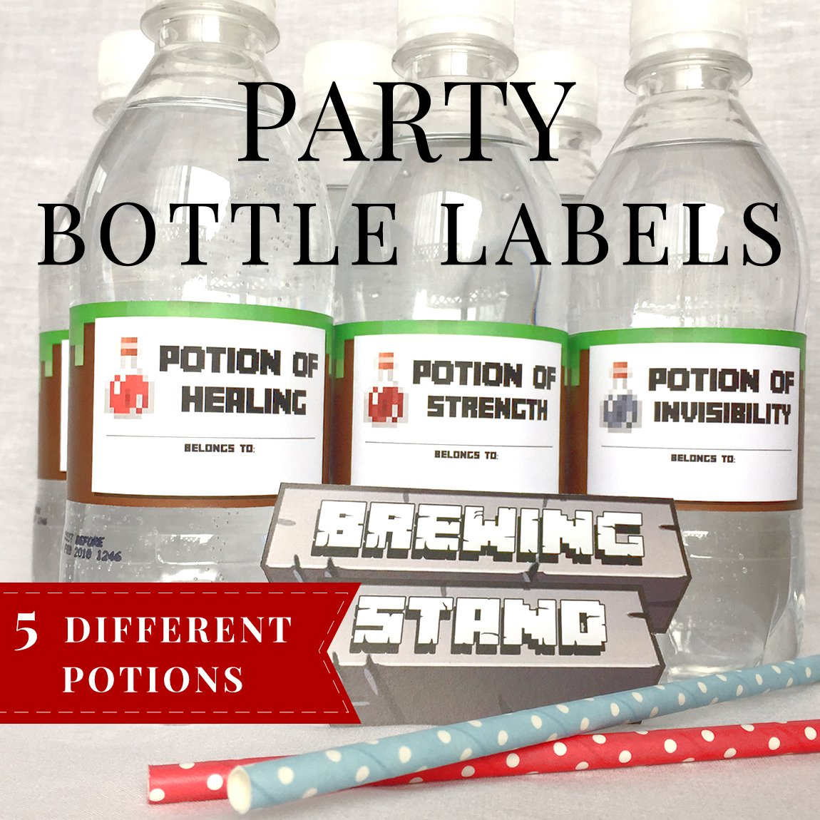 graphic about Minecraft Labels Printable called Minecraft Bottle Labels - Printable