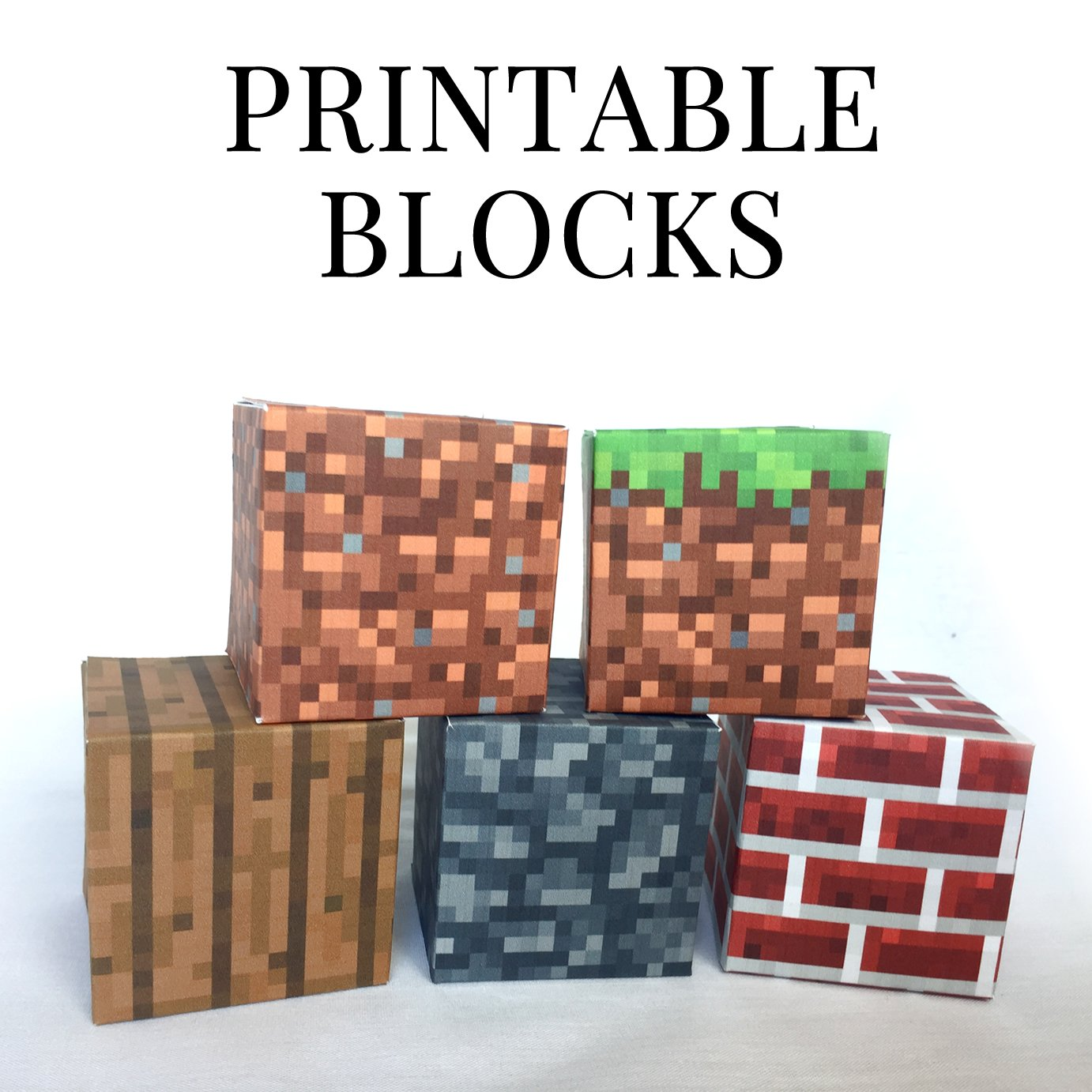 photo regarding Minecraft Blocks Printable known as Mounted 1 - Minecraft Printable Papercraft Blocks