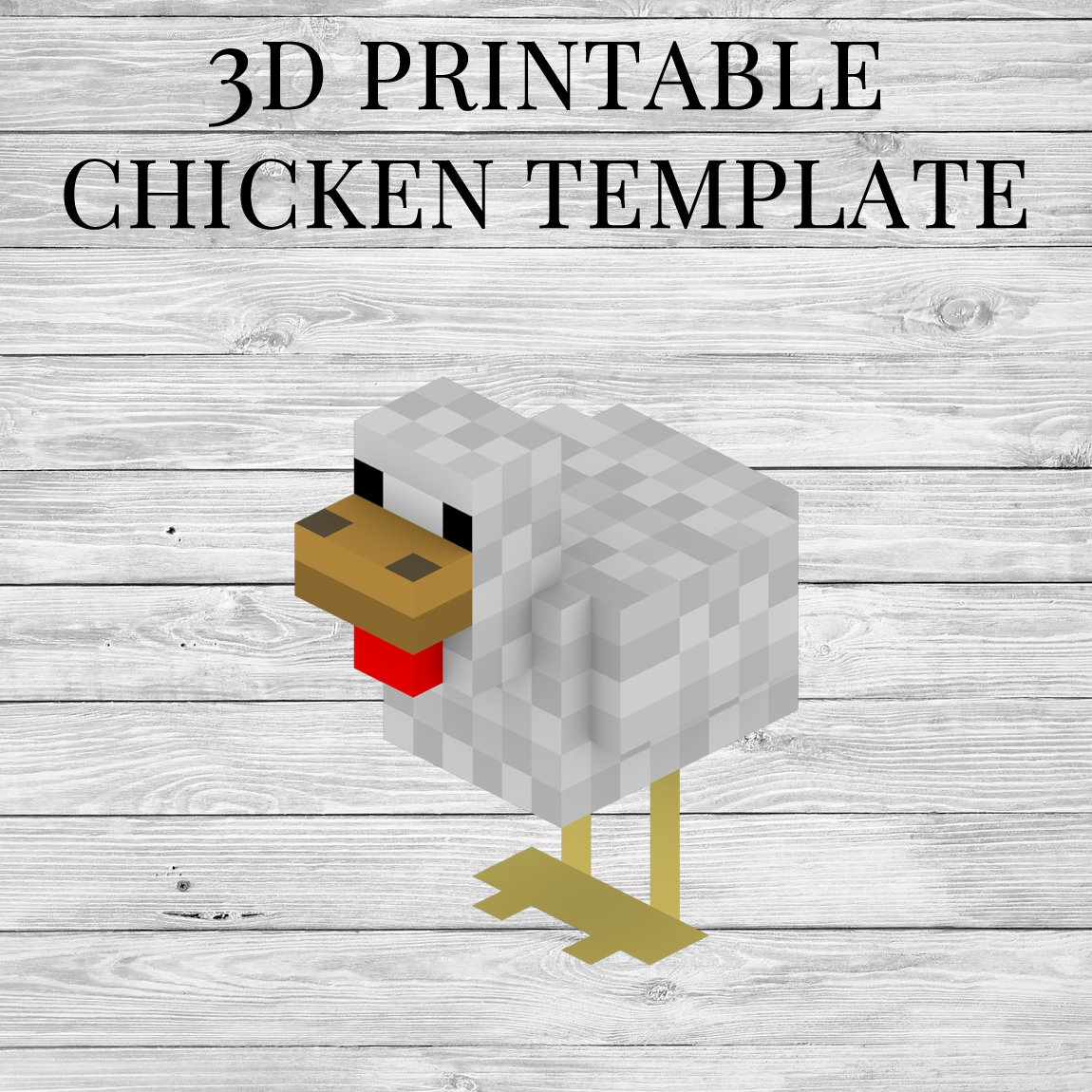 photograph regarding Chicken Stencil Printable named 3D Printable Minecraft Chook Template