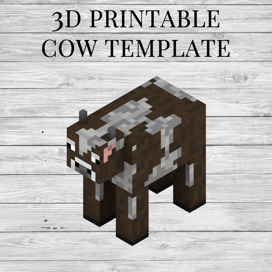 Minecraft Cow - 3D Printable Minecraft Cow Papercraft Template