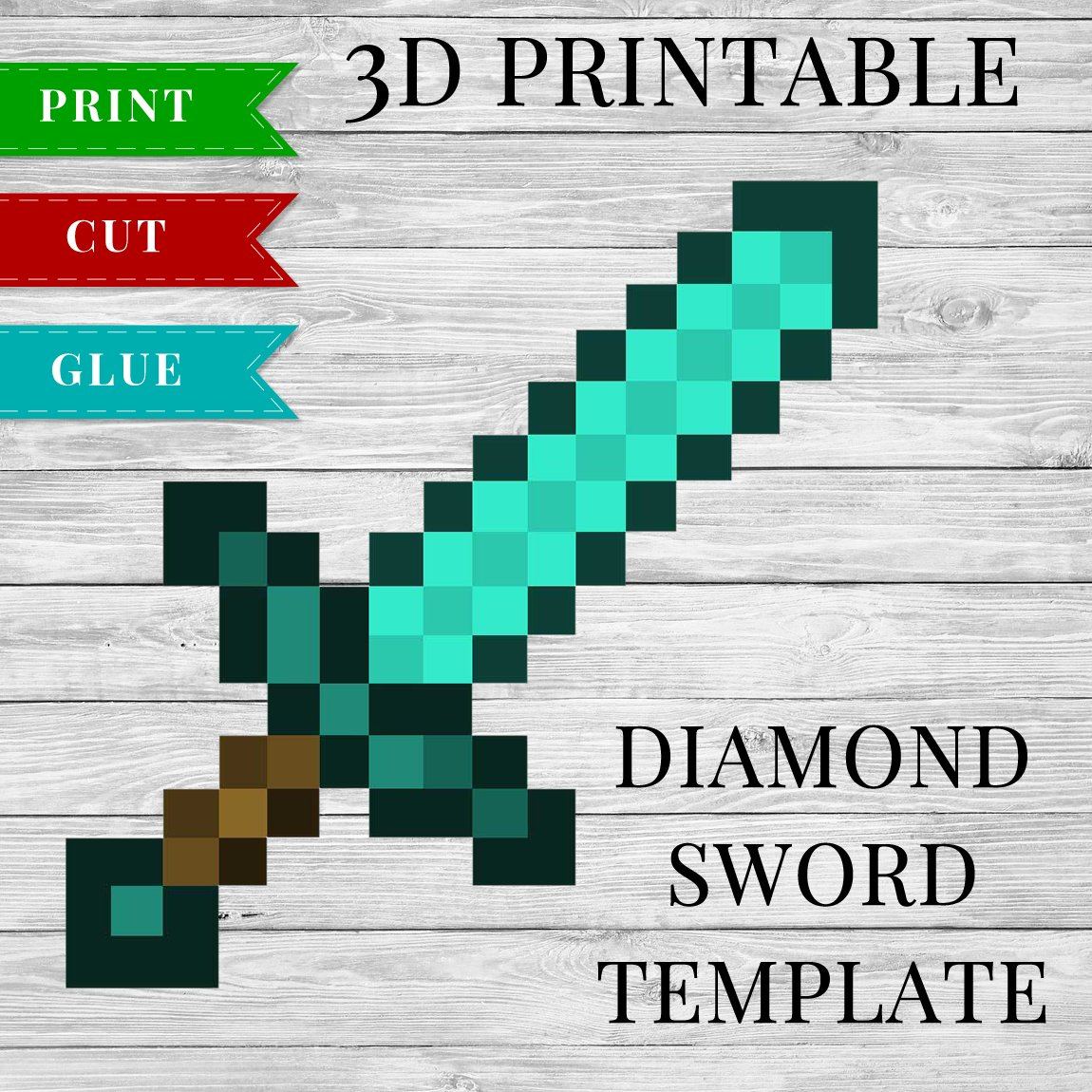 3D Printable Minecraft Diamond Sword