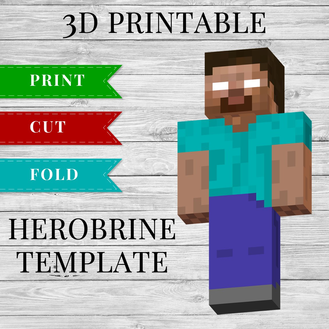 photo relating to Printable Minecraft Images named 3D Printable Minecraft Herobrine Template