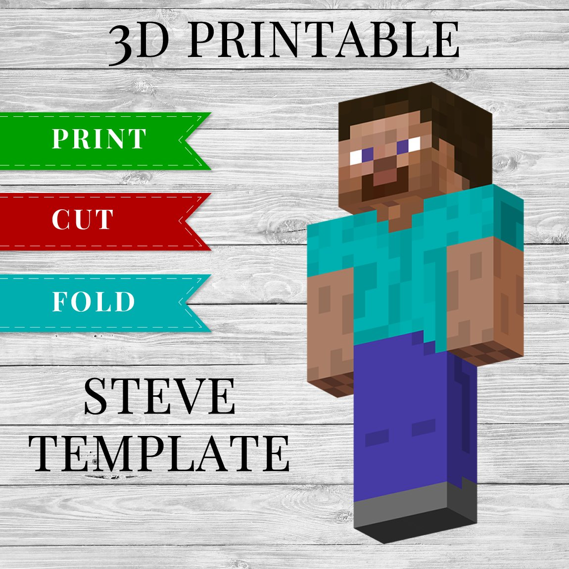 3D Printable Minecraft Steve Papercraft