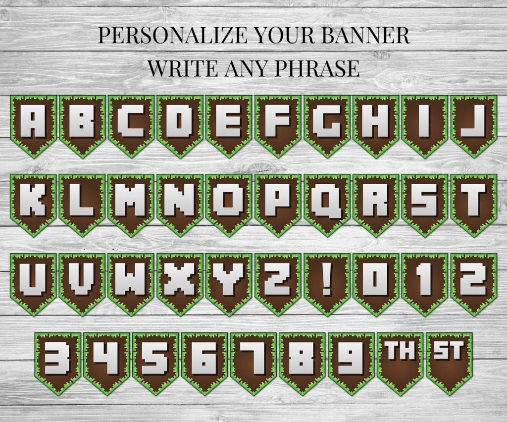 photo relating to Minecraft Birthday Banner Free Printable referred to as Birthday Banner - Printable Minecraft Satisfied Birthday Banner
