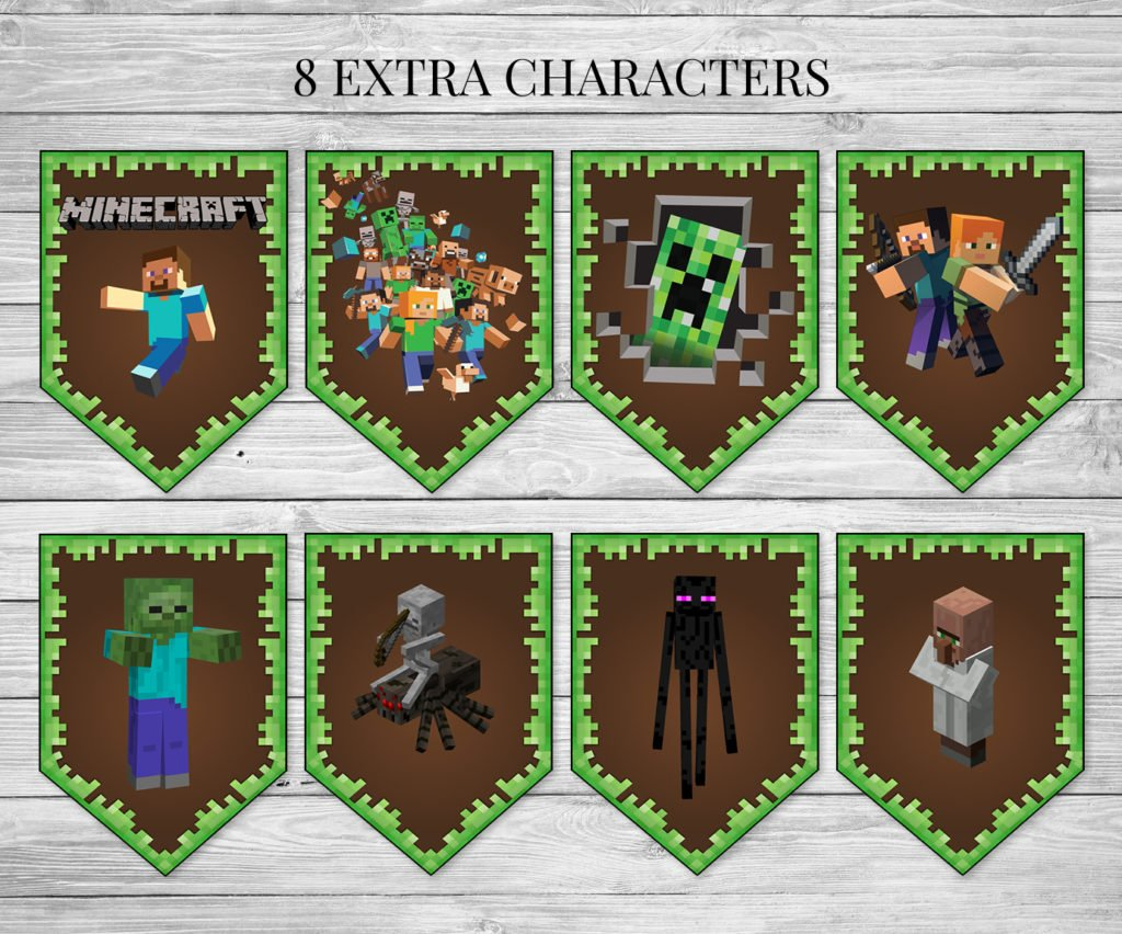 photo regarding Printable Minecraft named Birthday Banner - Printable Minecraft Satisfied Birthday Banner