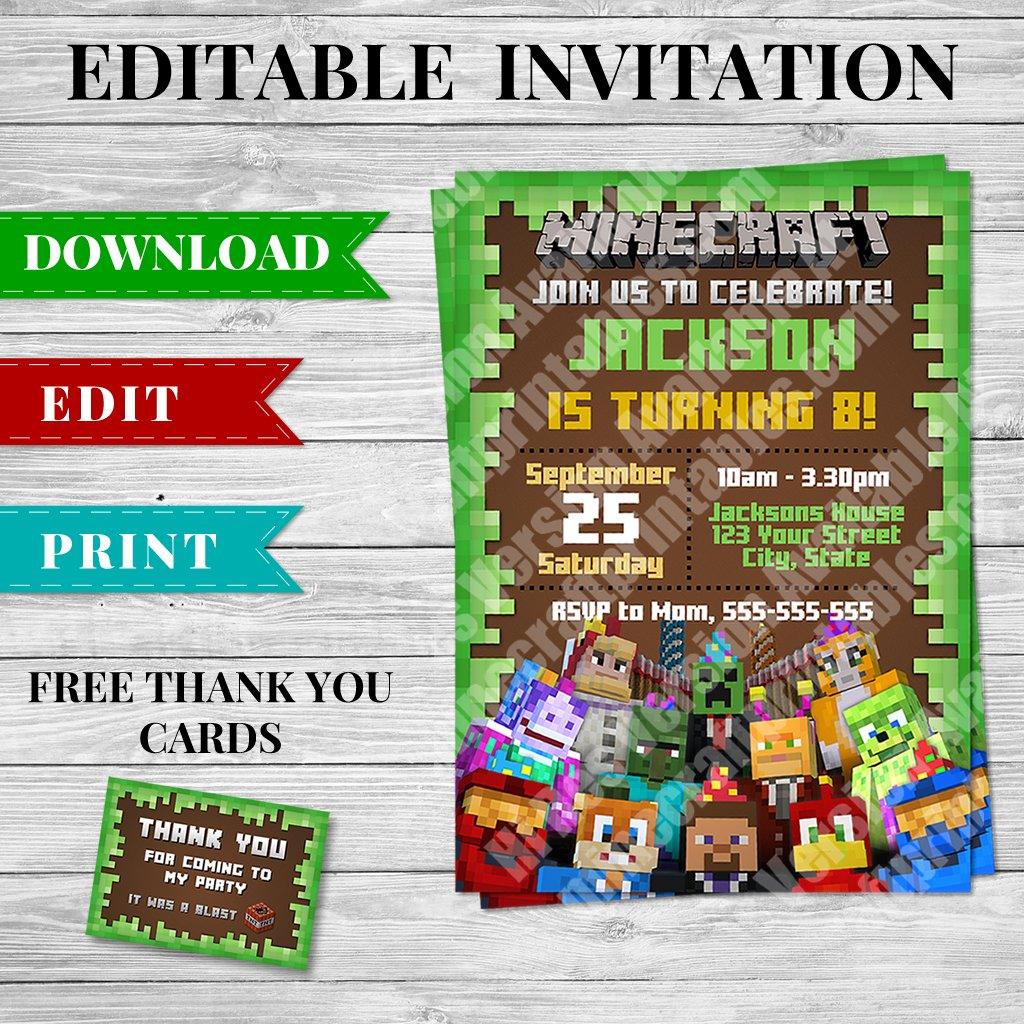 Printable Minecraft Invitation Pdf Design 1 Minecraft Printables