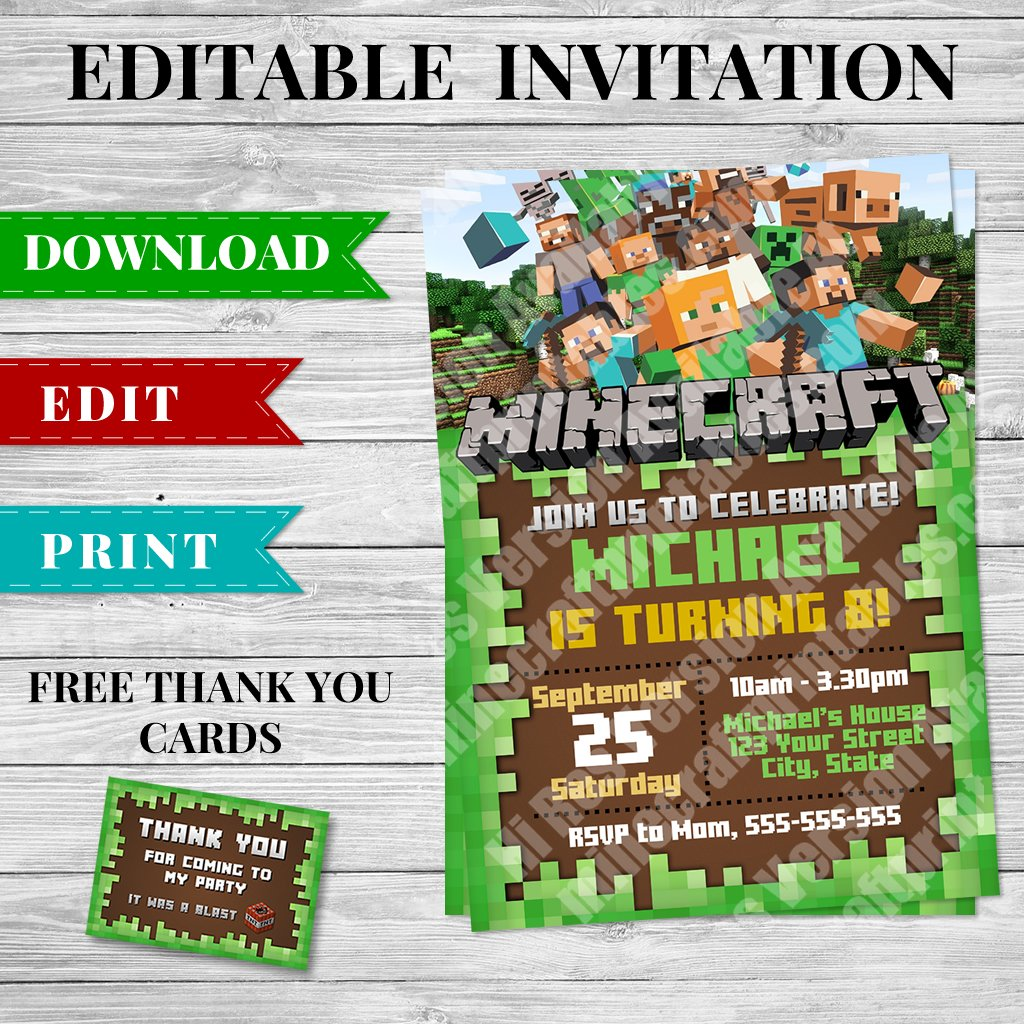 Printable Minecraft Invitation PDF Design 2 Minecraft Printables