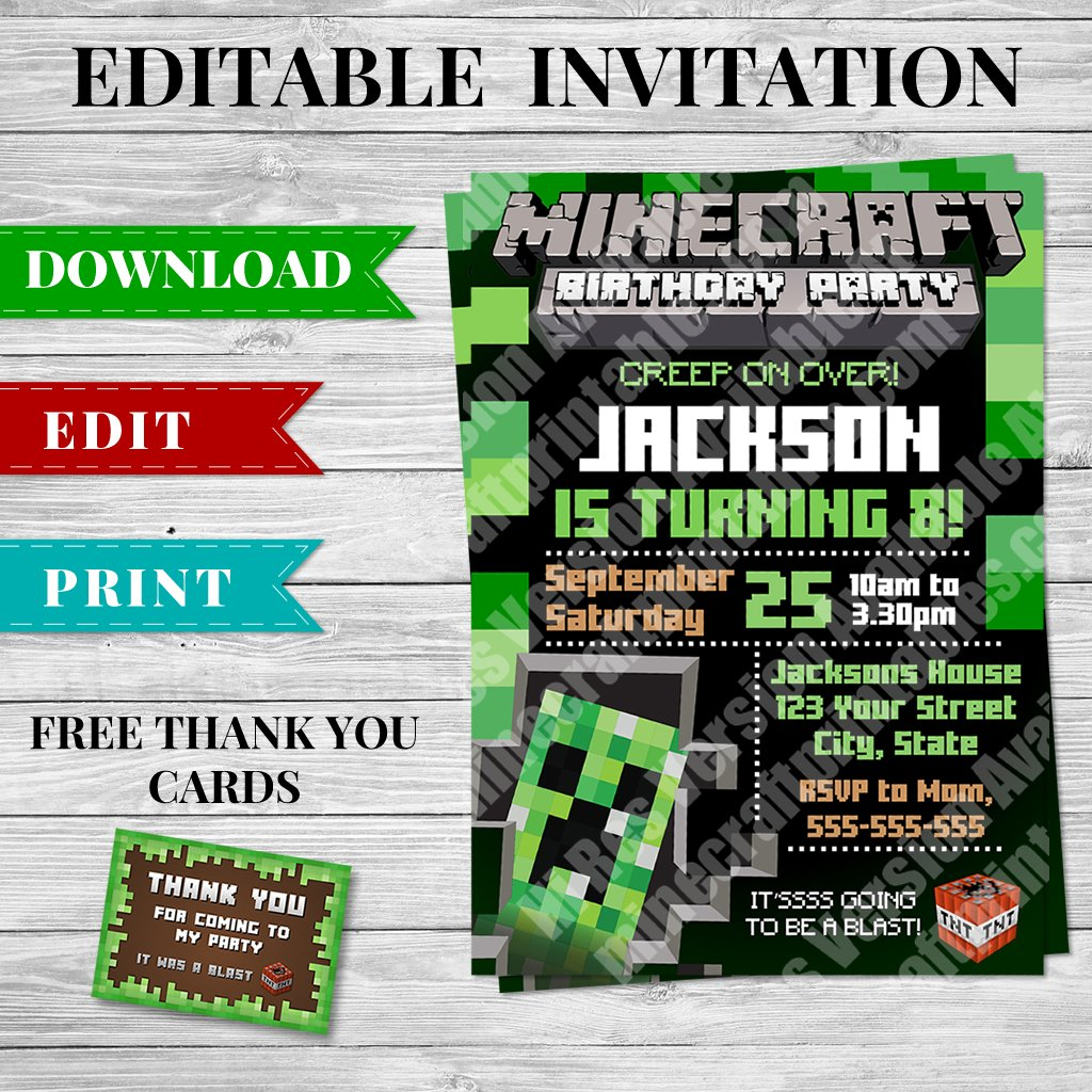 picture regarding Printable Minecraft Birthday Invitations called Printable Minecraft Invitation - Structure 3