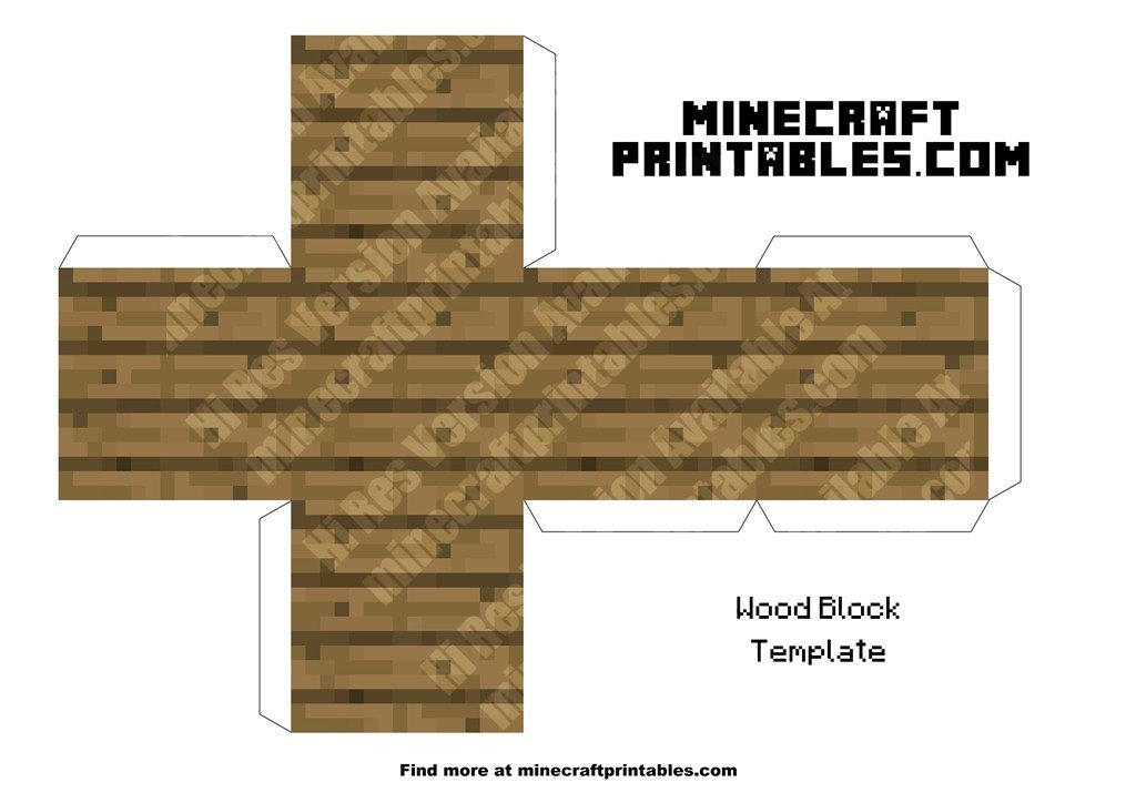 photo about Printable Minecraft Blocks named Printable Minecraft Wood Block Template