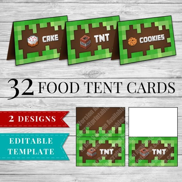 tent cards printable minecraft birthday party food tent cards